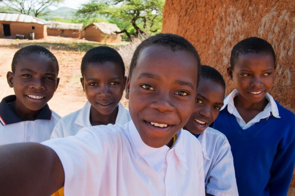 Eva and her classmates in Tanzania